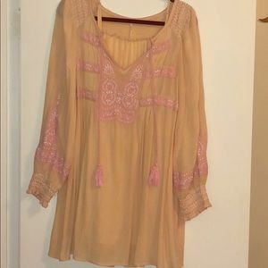 Embroidered boho peach and pink dress with slip.